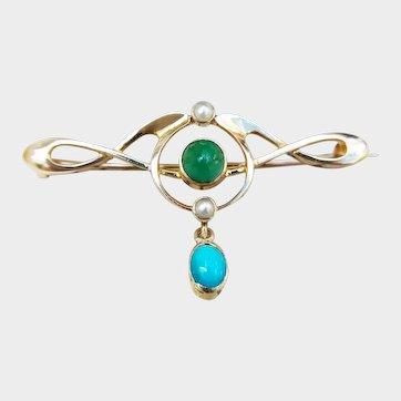Murrle Bennett 15ct Gold, Turquoise & Pearl Brooch, Art Nouveau Brooch