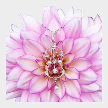 Antique Art Deco Platinum Diamond & Pearl Pendant Necklace, Violin Pendant