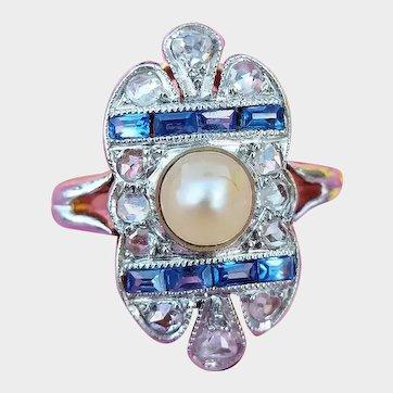 Antique Belle Époque French 18ct Gold Platinum Pearl, Diamond & Sapphire Ring