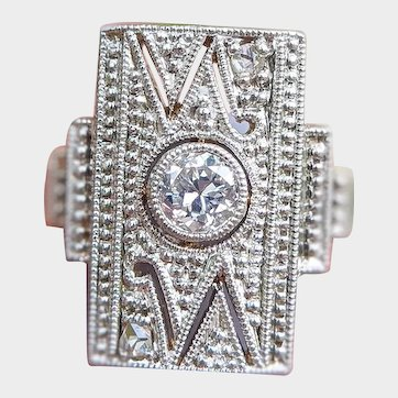 Antique Art Deco 14ct Gold Diamond Shield Ring, Art Deco Engagement Ring