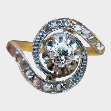 Antique French 18ct Gold Diamond Tourbillon Ring, Vintage Engagement Ring