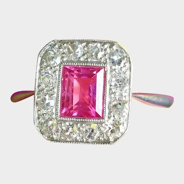 intage Art Deco 18ct Gold Pink Sapphire & Diamond Ring, 1930s Sapphire Engagement Ring