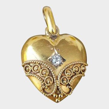 Victorian 15ct Gold Etruscan Diamond Heart Pendant, Small Antique Gold Heart Locket