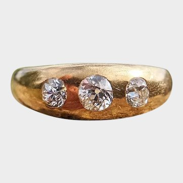 Victorian 18ct Gold Three Diamond Gypsy Ring, Antique Trilogy Ring