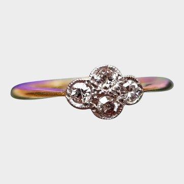 Antique Edwardian 18ct Gold Diamond Quatrefoil Ring, Diamond Stacking Ring, Engagement Ring
