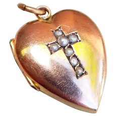 Antique 9ct Rose Gold Heart Locket with Pearl Cross Motif, Victorian Mourning Locket