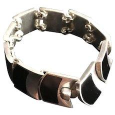 Black Onyx & 950 Silver Bracelet