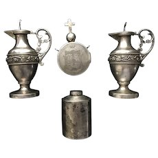 Various Ecclesiastical Silver pieces:  1 pair of cruets, one Holy Oil Vessel and One Carry Case for the Eucharist