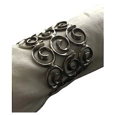 Exceptionally Worked Dramatic Cast Sterling Bracelet
