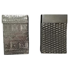 Two Taxco Sterling Silver Basket Weave Cigarette Cases