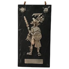 Tlacatecutli -- General of the Aztec Army -- Sterling Silver on Marble
