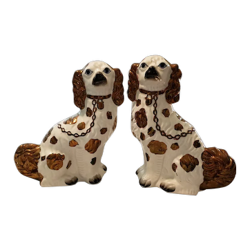 19th Century Staffordshire Copper Luster Ware King Charles Spaniels