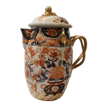 Early 1900's Hand Painted Chinese Cider Jug with Twisted Handles & Lid Knop Dog of Fo