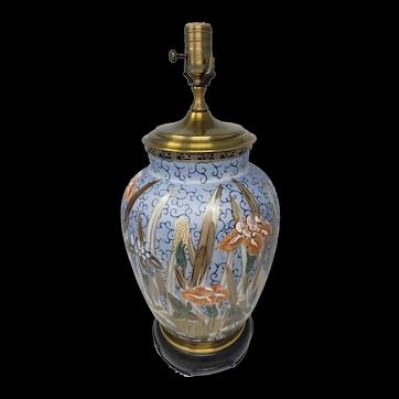 Vintage Wildwood Porcelain Handpainted Floral Table Lamp
