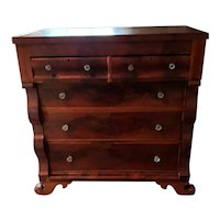 Late 19th Century Empire Crotch Flame  Mahogany Dresser with Glass Knobs