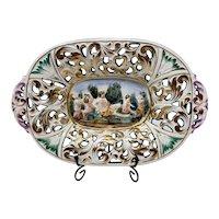 Capodimonte Reticulated Decorative Tray with Cherubs