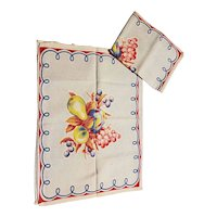 Pair of Vintage Tea Towels with Fruit and Leaf Print