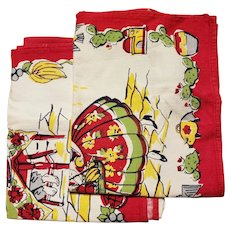 Vintage Set of  Tea Towels Bold Red & Yellow Mexicano Familia