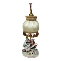 19th Century Meissen Courting Couple Lamp