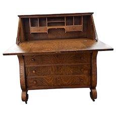 Tiger Oak Slant Front Empire Style Desk