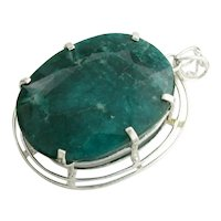 Ladies Silver Mounted 336.88 cts Emerald Pendent