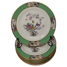 Vintage Lenox Green Brim Salad Plates with a garden, birds and butterflies