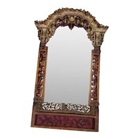 South Asian Early 20th Century Decorative Gilt and Copper Mirror