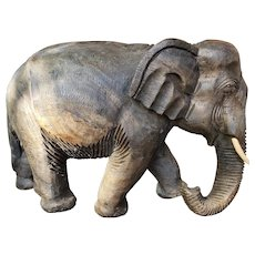 Vintage African Wooden Carved Elephant