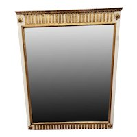 Large White Italian Mirror with Gilted Details