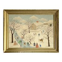 Albert Webster Davies New Hampshire Original Oil Painting Folk Art Male Known as Male Grandma Moses 1889-1965