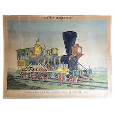 1855 Advertising Chromolithograph Print Freight Train Locomotive Richard Norris & Son   Philadelphia PA.