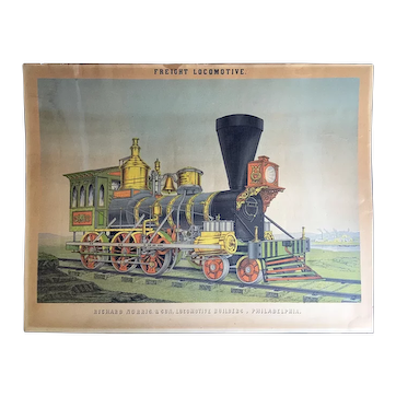 1855 Advertising Chromolithograph Print Freight Train Locomotive Richard Norris & Son   Philadelphia PA.