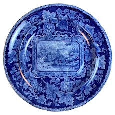 Dark Blue Staffordshire Historic Plate Enoch Wood London Views Series Circa 1820s