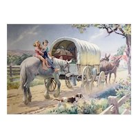 Watercolor Conestoga Wagon by Percy Alexander Leason Illustrator Commercial Artist Teacher Australia United States 1889-1959