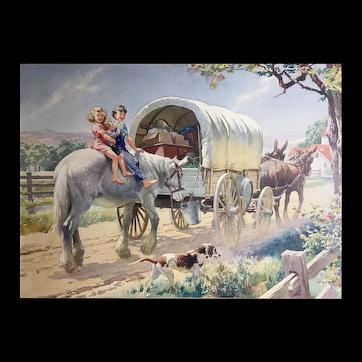 Watercolor Conestoga Wagon by Percy Alexander Leason Illustrator Commercial Artist Teacher Australia United States 1889-1959