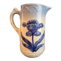 Salt Glazed Blue White Stoneware Pitcher Embossed Iris RARE