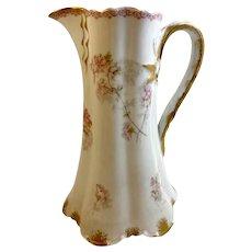 """Haviland Limoges France Porcelain Tankard Pitcher 9"""" Antique 1880s-90s"""