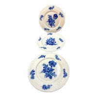Set of Three different Blue & White Floral Plates Hohenberg Bavaria
