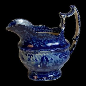 Dark Blue Historical Staffordshire Cream Pitcher-Washington At Tomb with Script-Wood 1820s