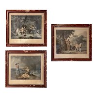 Three French Aquatints Paul Et Virginie Charles Melchior Descourtis Framed 1780s