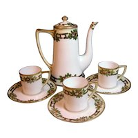 Nippon Moriage Small Coffee Set Morimura  Aesthetic Art Nouveau Arts & Crafts