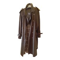 1980s Men's Burberry Westminster Wool Trench Coat XL 50RL Dark Military Khaki