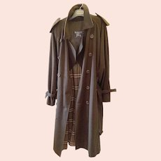 1980s Men's Burberry Westminster Wool Trench Coat XL 50RL Dark Military Khaki