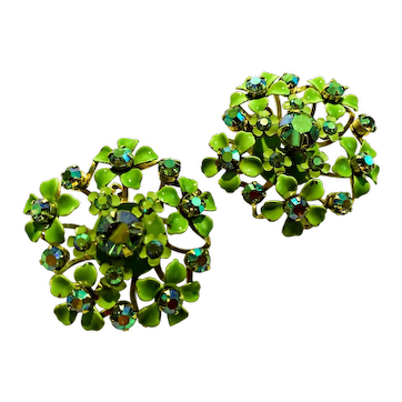 Vintage Lime-Green Daisies and Iridescent Rhinestones Clip Earrings