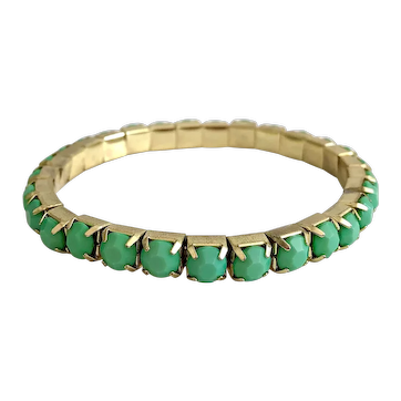 Vintage Mint-Green Cut Lucite Jeweled Elastic Bracelet
