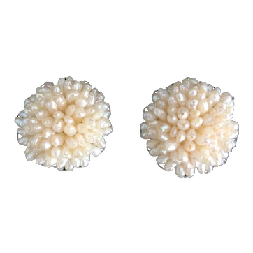 Vintage Imitation Freshwater Seed-Pearl Clip-on Earrings