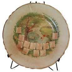 Fine china souvenir 1910 Calendar Plate Swimming Hole Verse Riley Boys