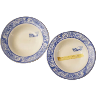 "Vintage Buffalo China Fairview Blue ""Ye Olde Chop House"" Dinner Plates.  Set of 2"