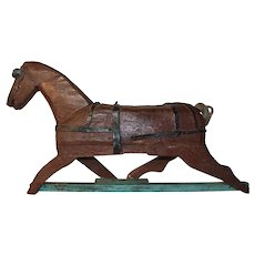 Folk Art Painted Wood Running Horse