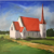 Original oil on canvas of 'Church with red roof'